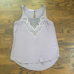 MAURICES Dusty Purple Silver Beaded Dress Tank Sm